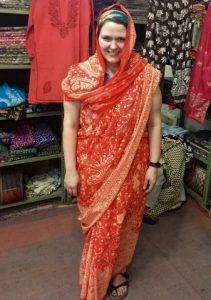 Carrie in a saree